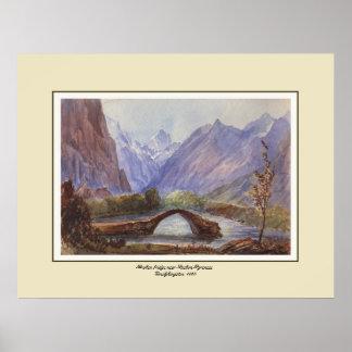 Broken bridge,Luchon,Pyrenees. Print