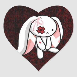 Broken Bunny Heart Sticker