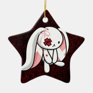 Broken Bunny Double-Sided Star Ceramic Christmas Ornament