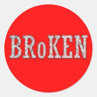 Broken Classic Round Sticker