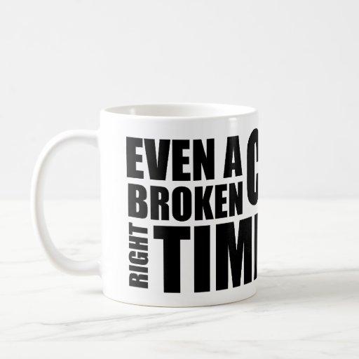 Broken Clock Typography Mug