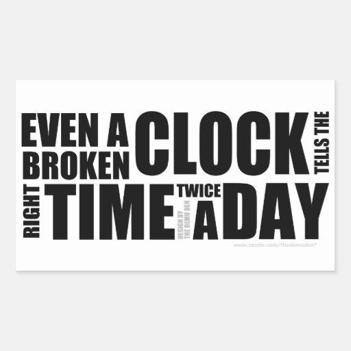 Broken Clock Typography Rectangle Sticker