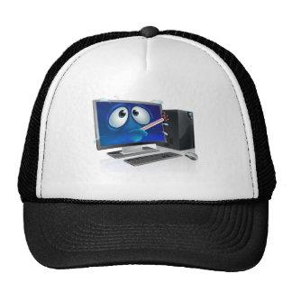 Broken computer virus cartoon mesh hat