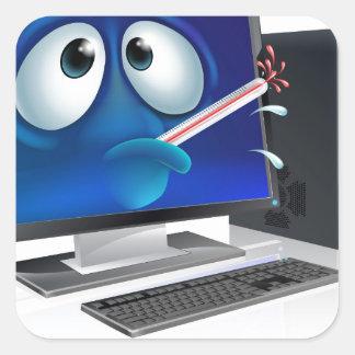 Broken computer virus cartoon sticker
