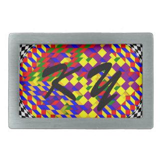 Broken Cube w/ Shadow by Kenneth Yoncich Rectangular Belt Buckle