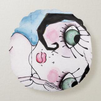 broken doll detail | custom quote round pillow