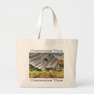 Broken-Down Cabin; Customizable Large Tote Bag