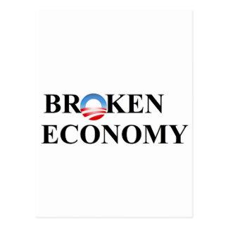 Broken economy postcard