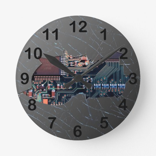 Broken Electronics Round Clock
