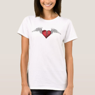 Broken Flying Heart with Wings and Stitches Tattoo T-Shirt