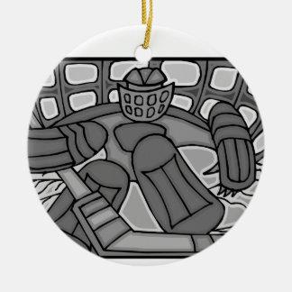 Broken Glass Hockey Goalie Ceramic Ornament