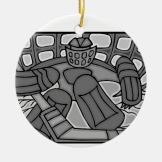 Broken Glass Hockey Goalie Double-Sided Ceramic Round Christmas Ornament