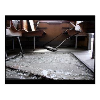 Broken Glass on Ground Abandoned Train Postcard
