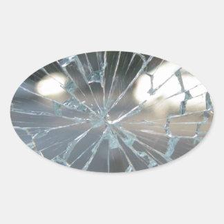 Broken Glass Oval Sticker