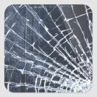 Broken glass phone square sticker