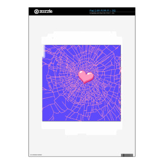 Broken glass Pink heart Decals For iPad 2