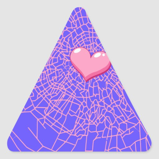 Broken glass Pink heart Triangle Sticker