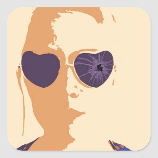 Broken Glasses Print (2) Square Sticker