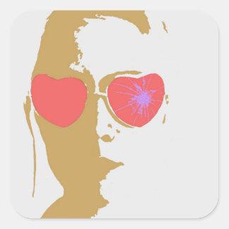 Broken Glasses Print (7) Square Sticker