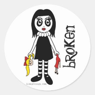 Broken Goth Doll Classic Round Sticker
