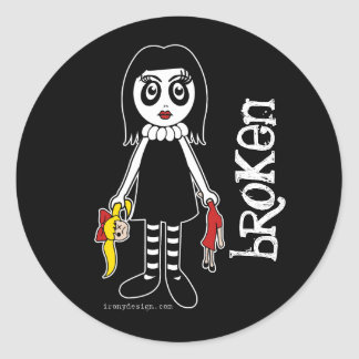 Broken Goth Doll Classic Round Sticker