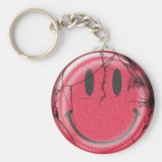 broken happy basic round button keychain