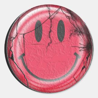 broken happy classic round sticker