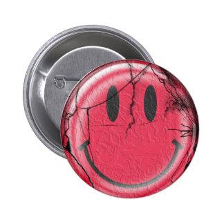 broken happy pinback button
