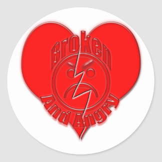 Broken Heart Angry Sad Face Classic Round Sticker