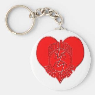 Broken Heart Angry Sad Face Keychain