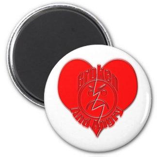 Broken Heart Angry Sad Face Refrigerator Magnets