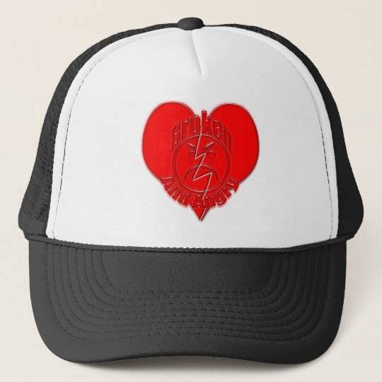 Broken Heart Angry Sad Face Trucker Hat