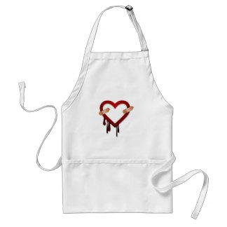 broken heart anti valentines day adult apron