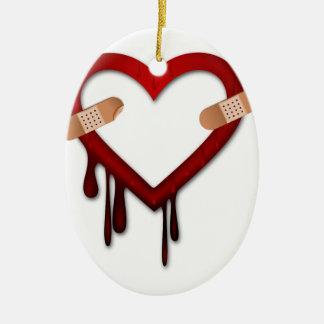 broken heart anti valentines day ceramic ornament