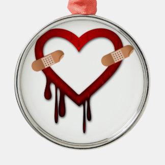 broken heart anti valentines day metal ornament