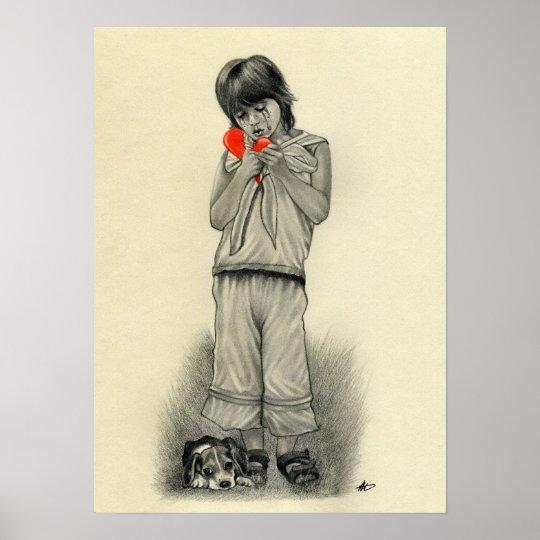 Broken Heart Boy Puppy Poster Zazzlecom