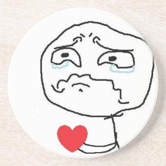 Broken Heart Comic Face Sandstone Coaster