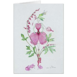 Broken heart dicentra greeting card