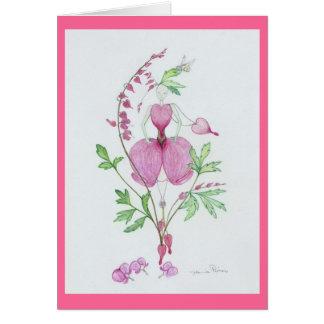 Broken heart dicentra greeting cards