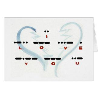"Broken Heart ""I Love You"" Morse Code Card"