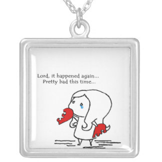 Broken Heart in need of the Lord to heal it Square Pendant Necklace