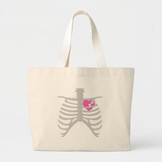 Broken Heart in Ribcage Large Tote Bag