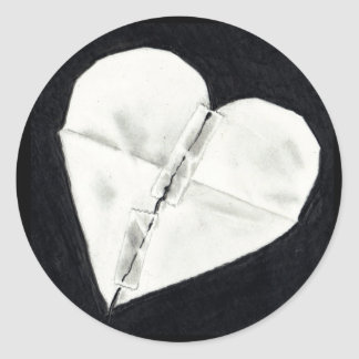 BROKEN HEART MENDED: PENCIL REALISM CLASSIC ROUND STICKER