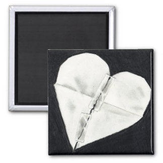 BROKEN HEART MENDED: PENCIL REALISM 2 INCH SQUARE MAGNET