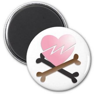 broken heart on crossbones 2 inch round magnet