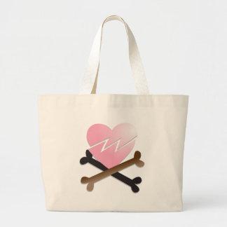 broken heart on crossbones large tote bag