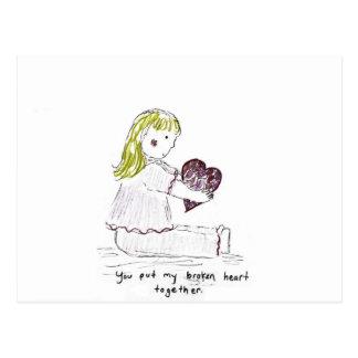 Broken heart postcards