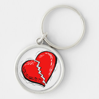 broken heart red graphic Silver-Colored round keychain