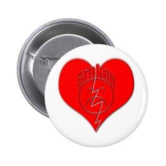 Broken Heart Sad Face Pinback Button