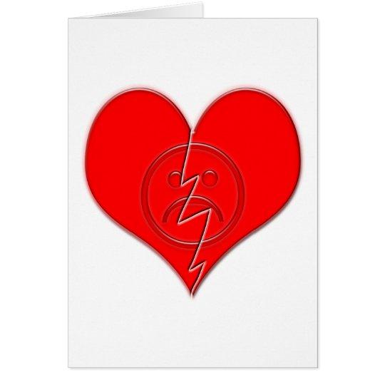 Broken Heart Sad Face Card